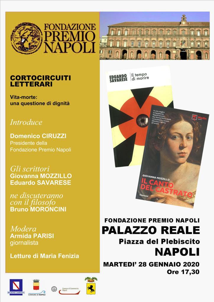 """Il 28 gennaio alla Fondazione Premio Napoli """"Cortocircuiti letterari. Vita-morte: una questione di di dignità"""""""