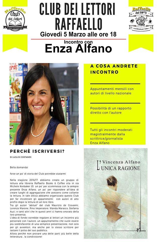 Giovedì 5 marzo Enza Alfano incontra il club dei Lettori Raffaello