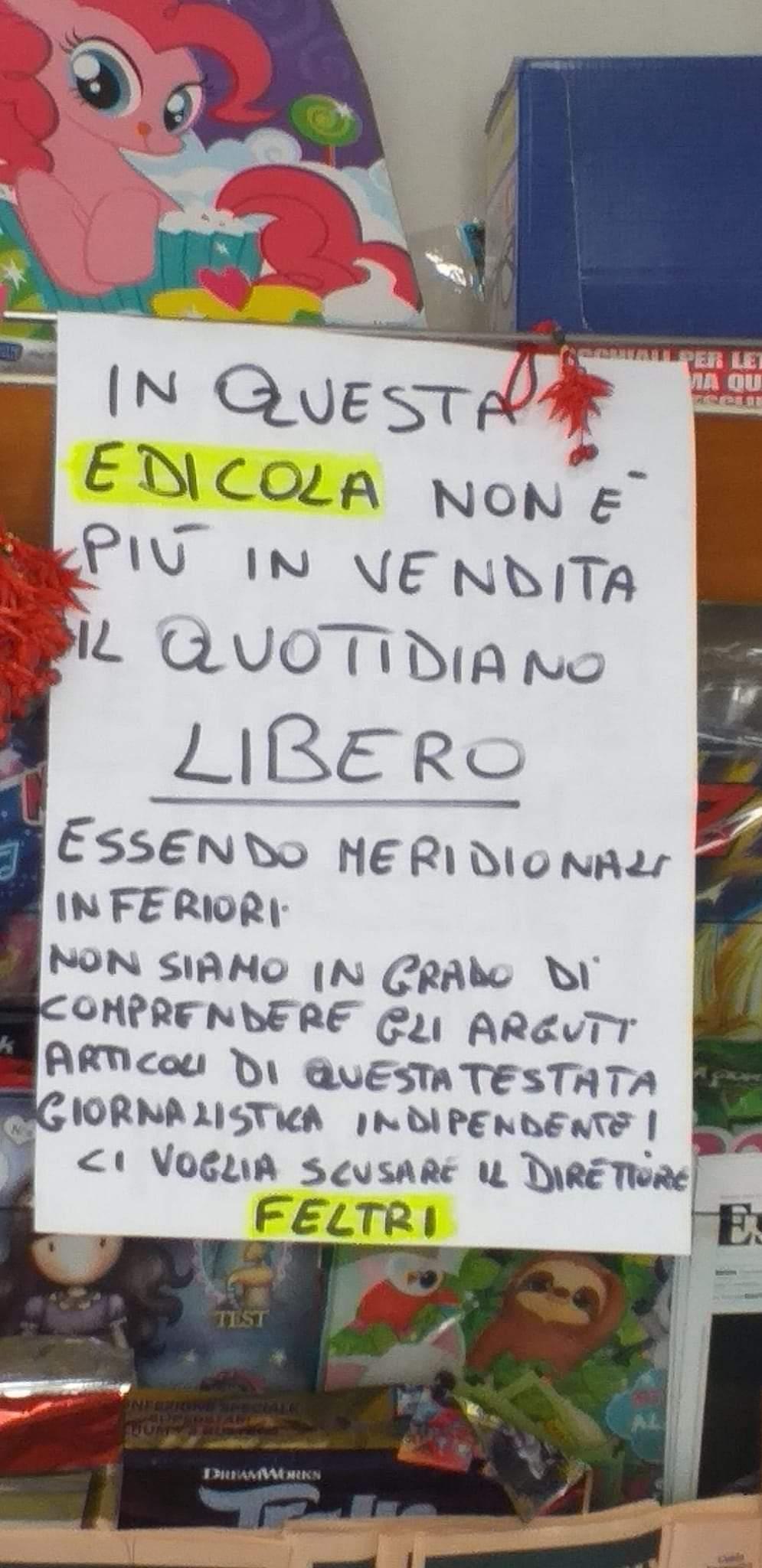"""Offese ai meridionali, le edicole napoletane boicottano """"Libero"""""""