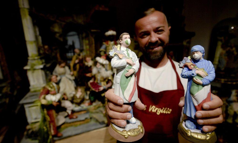 Covid-19, medici e infermieri d'Italia sul presepe a San Gregorio Armeno
