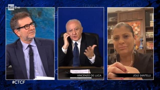 """De Luca show in tv: """"Fazio, lei ha la faccia da fratacchione"""""""
