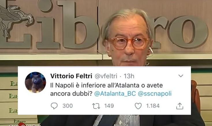 """""""Napoli inferiore all'Atalanta, avete ancora dubbi?"""": Feltri riaccende la polemica"""
