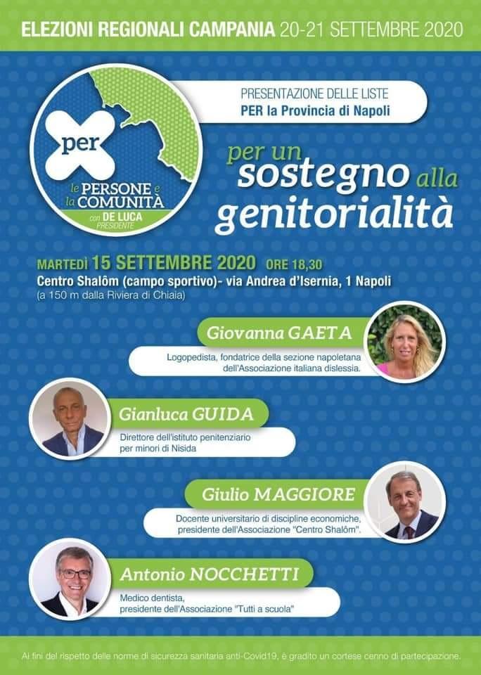 PER - Persone e Comunità: martedì 15 settembre la presentazione delle liste per la Provincia di Napoli