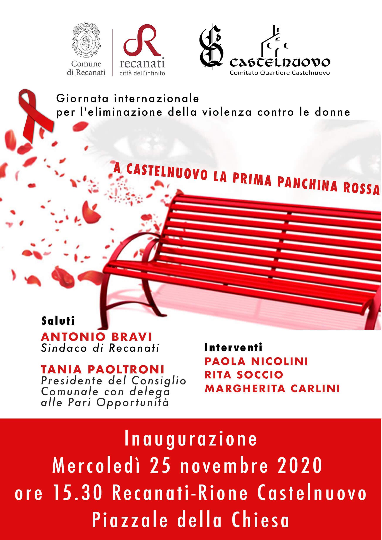 Recanati: inaugurazione di una panchina rossa a Castelnuovo