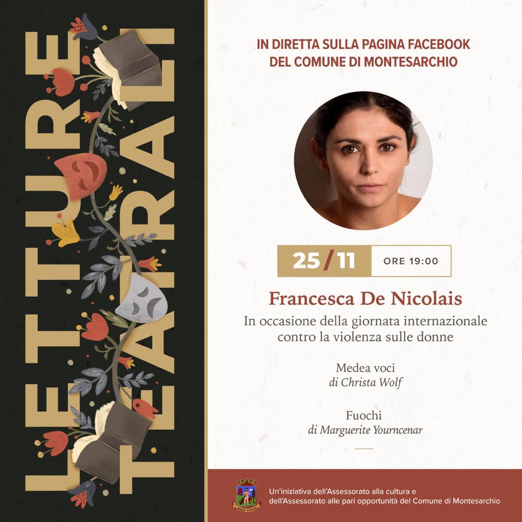 Montesarchio, letture teatralizzate di Francesca De Nicolais nella giornata contro la violenza sulle donne