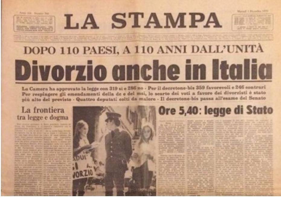 A cinquant'anni dall'introduzione del divorzio in Italia