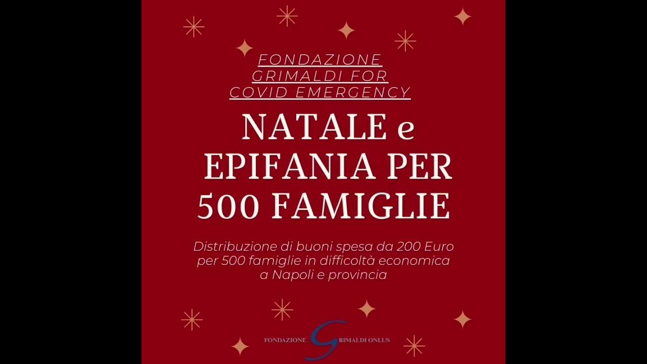 Fondazione Grimaldi Onlus, buoni spesa da 200 euro per Natale ed Epifania a 500 famiglie