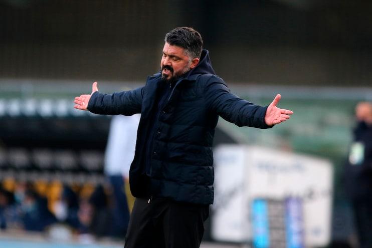 """Samp-Napoli - Piccolo screzio tra Quagliarella e Gattuso: """"Mister, staje facenn a telecronaca?""""... """"Gioca, non rompere i c..."""""""