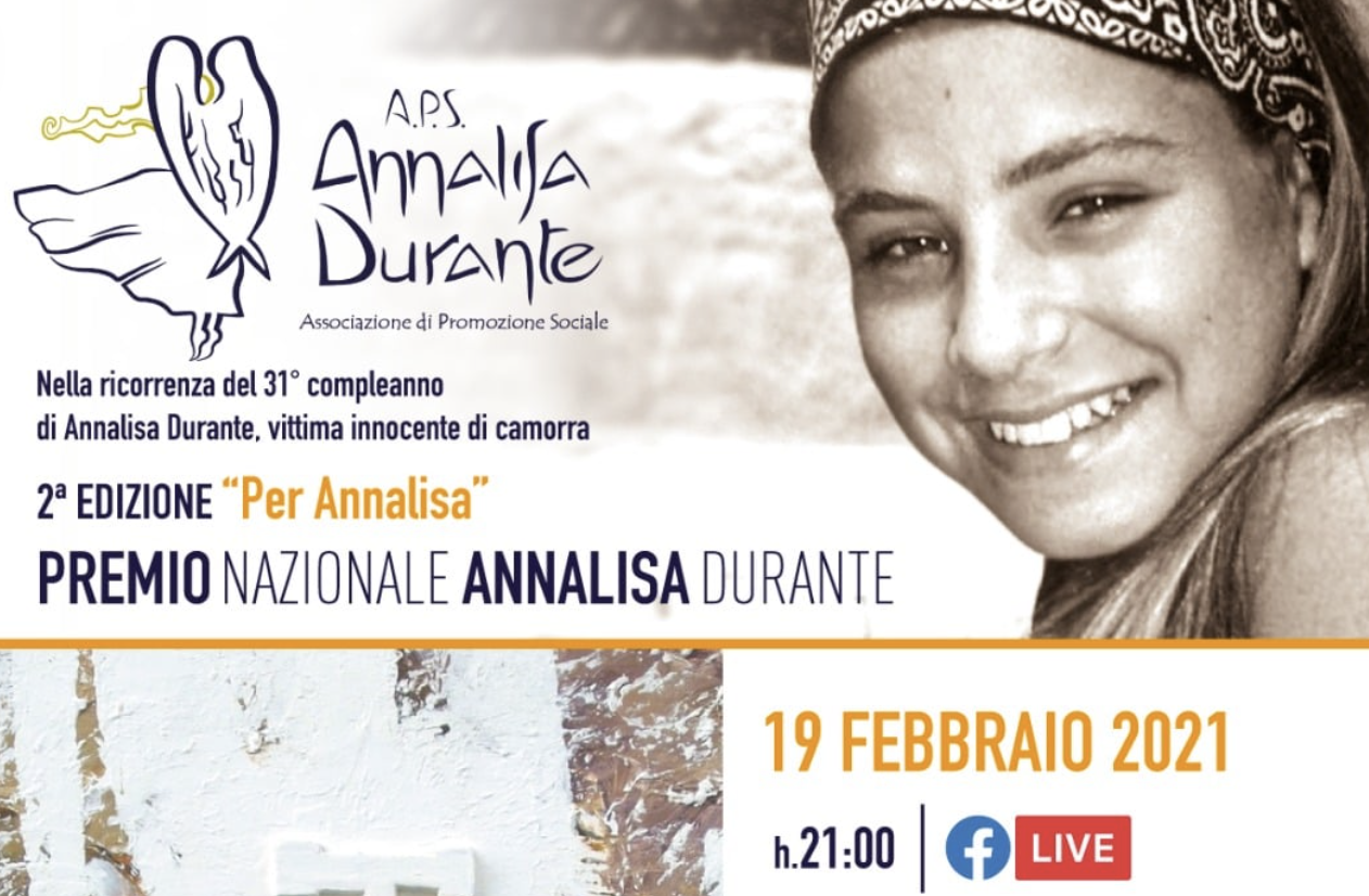 Stasera 19/02/2021 in streaming alle ore 21 la seconda edizione del Premio Annalisa Durante