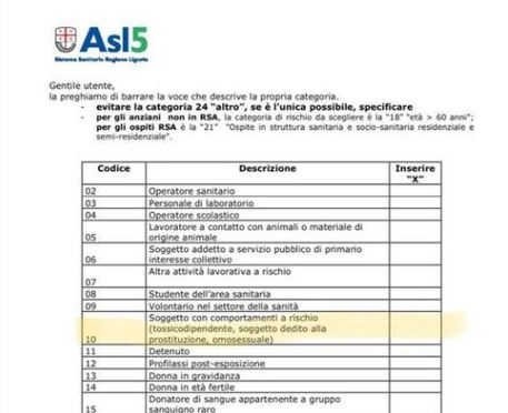 """Vaccino, secondo l'Asl """"omosessuali categoria con comportamenti a rischio"""""""