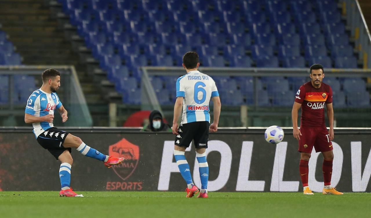 Roma-Napoli 0-2, Mertens fa 100 gol in A e mette la Champions nel mirino