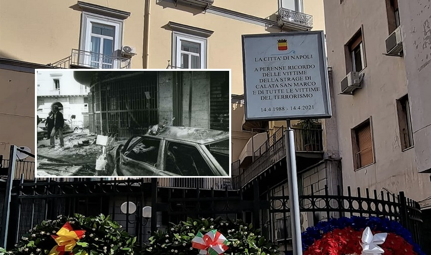 Calata San Marco, una targa a Napoli per ricordare le vittime dell'attentato