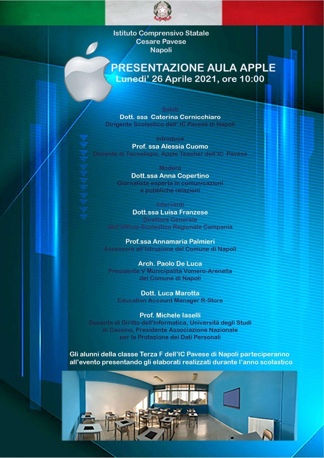 """Istituto Cesare Pavese, il 26 aprile presentazione Aula """"Apple"""": la tecnologia cambia l'istruzione"""