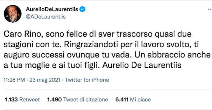 """De Laurentiis congeda Gattuso con un tweet: """"Grazie e un abbraccio a moglie e figli"""""""