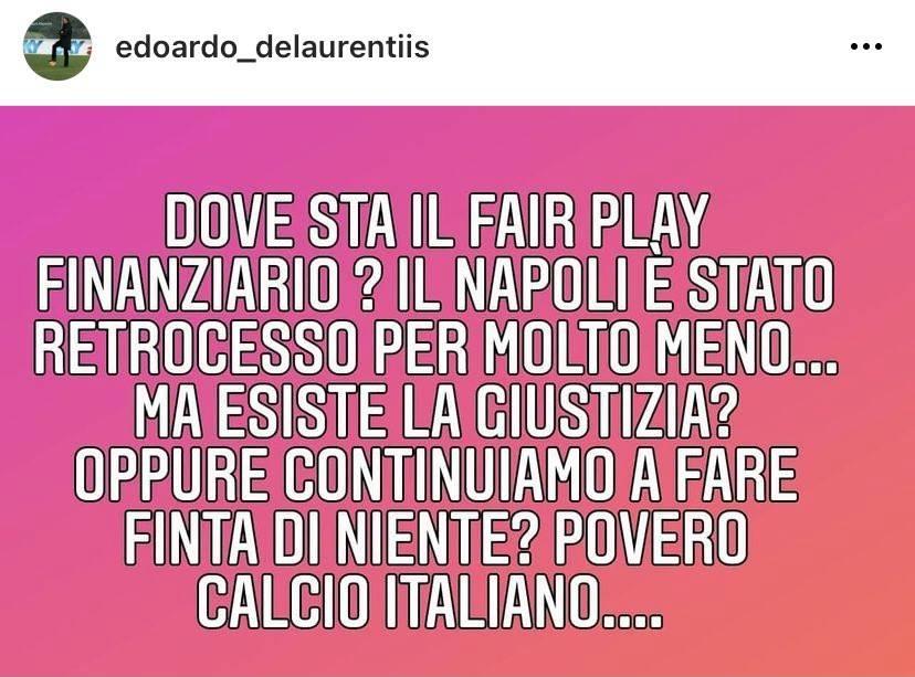 "Napoli, Edo De Laurentiis: ""Fair play finanziario? Noi retrocessi per molto meno"""