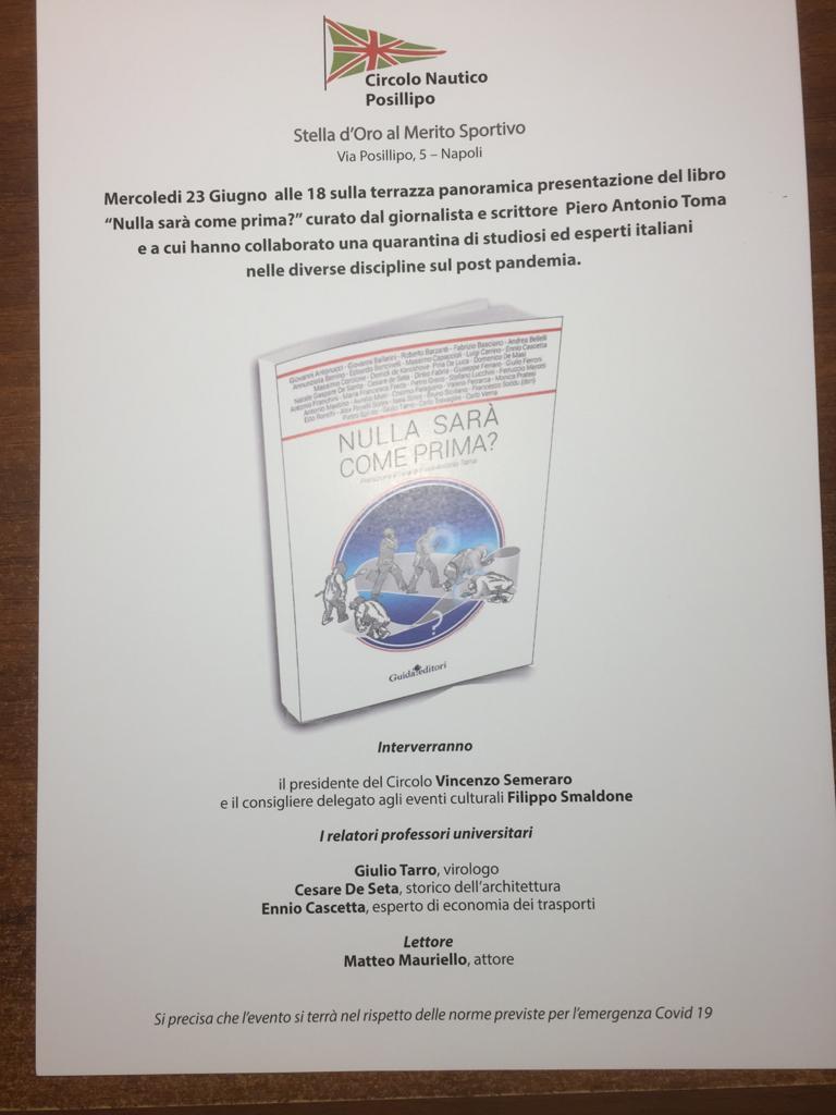 """Circolo Nautico Posillipo, libro """"Nulla sarà come prima?"""""""