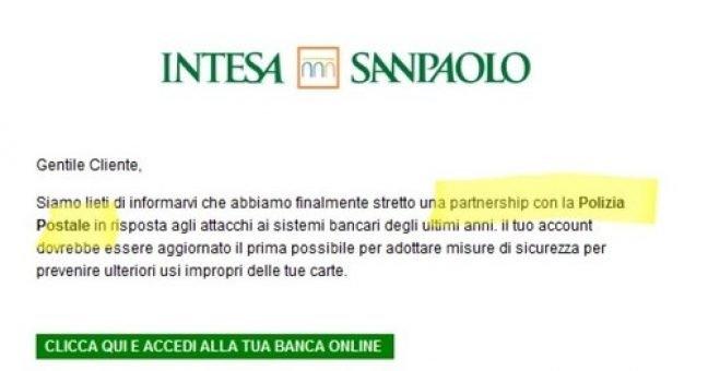 Mail Intesa Sanpaolo cita la Postale, ma è una truffa