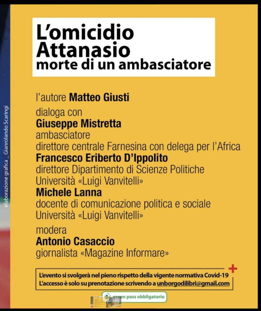 Casertavecchia, presentazione evento del libro L'omicidio Attanasio. Morte di un ambasciatore
