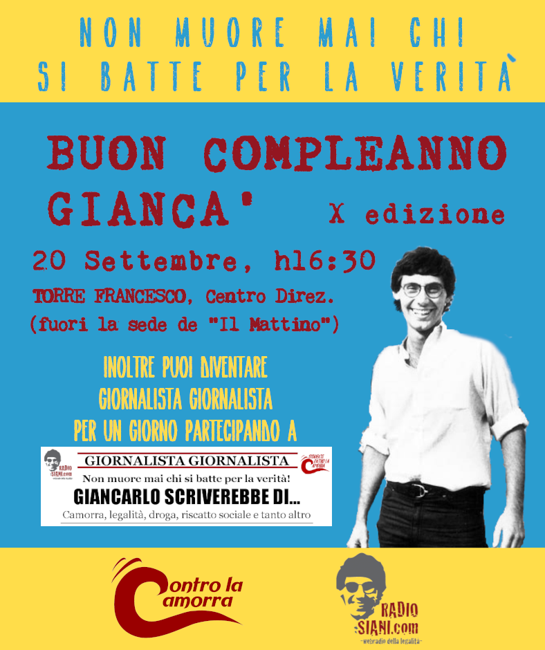 Giancarlo Siani, festa e contest per ricordare il giornalista ucciso dalla camorra